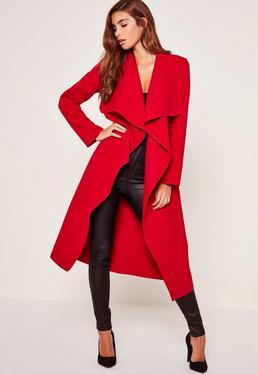 Abrigo duster oversize con diseño en cascada rojo