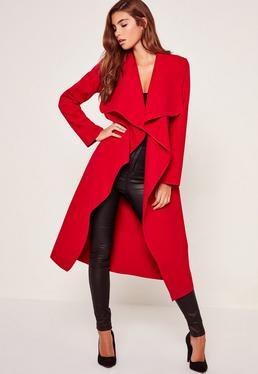 Oversized Waterfall Duster Coat Red