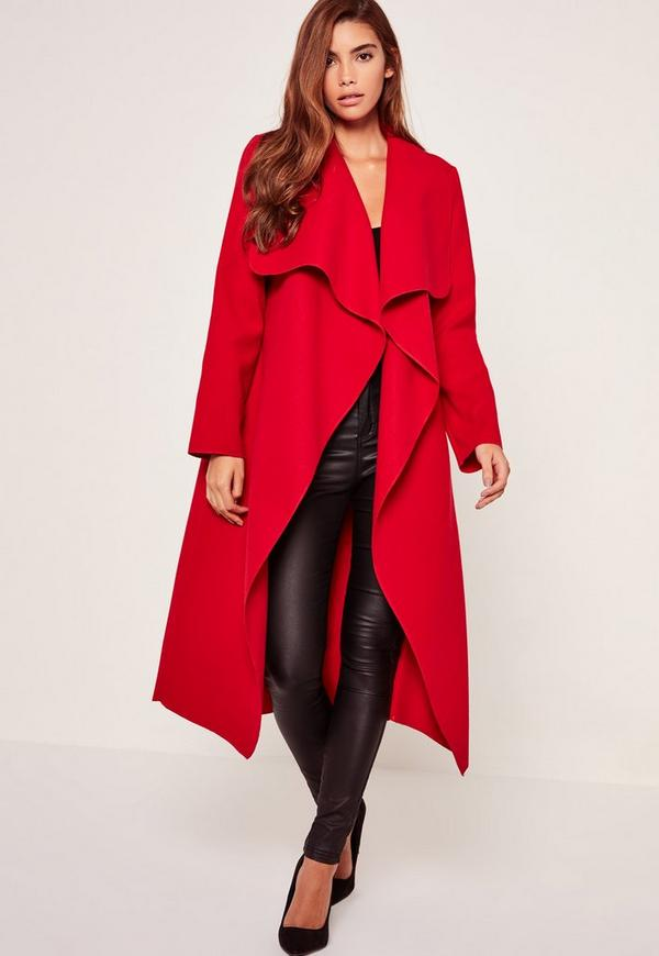 Oversized Waterfall Duster Coat Red | Missguided