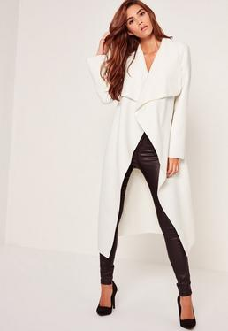 Oversized Waterfall Duster Coat White