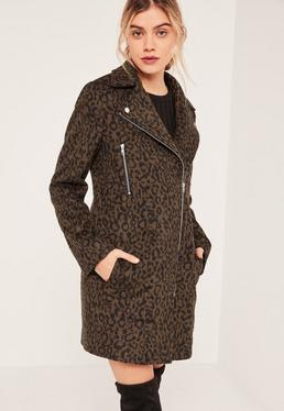 Brown Faux Wool Leopard Biker Jacket