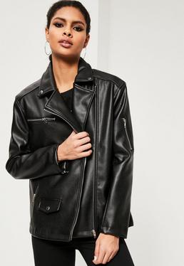 Black Oversized Boyfriend Faux Leather Biker Jacket