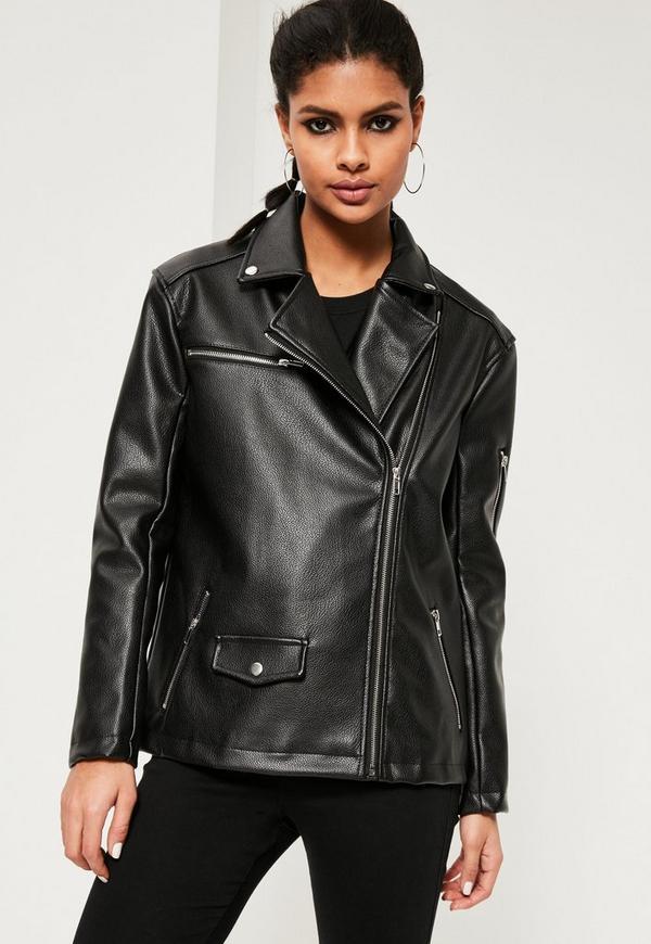 Black Oversized Boyfriend Faux Leather Biker Jacket