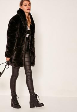 Pressed Faux Fur Coat Black
