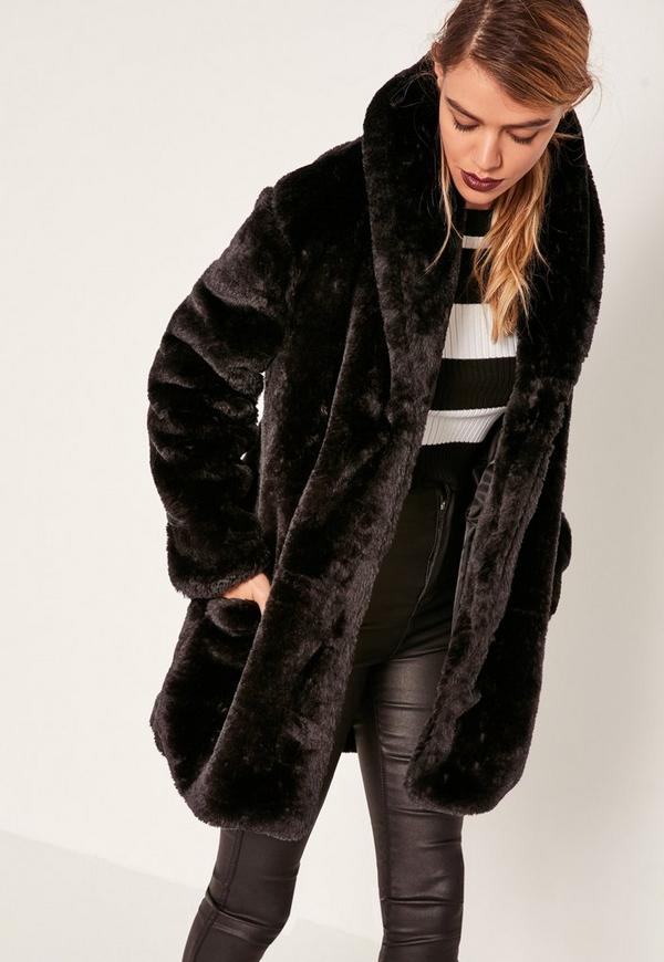Pressed Faux Fur Coat Black | Missguided
