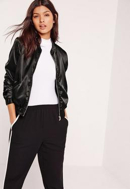 Satin Bomber Jacket Black