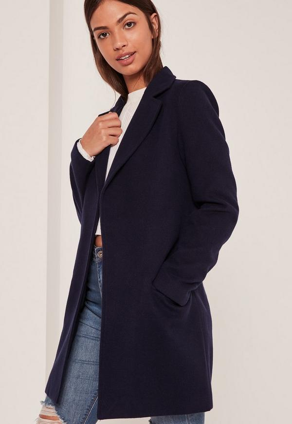Navy Short Tailored Faux Wool Coat