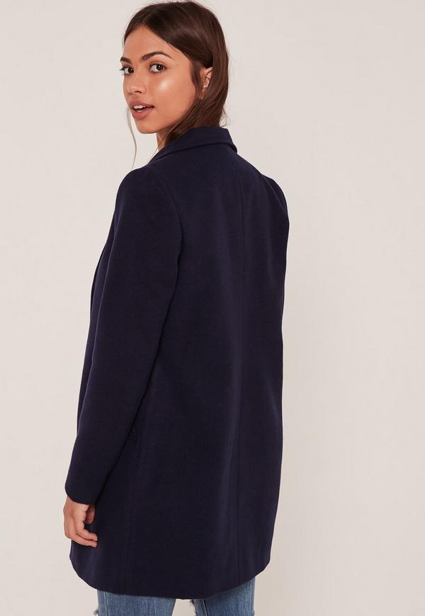 Navy Short Tailored Faux Wool Coat | Missguided
