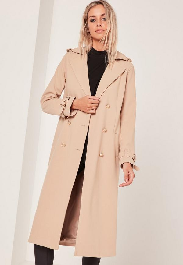 military faux wool trench coat nude