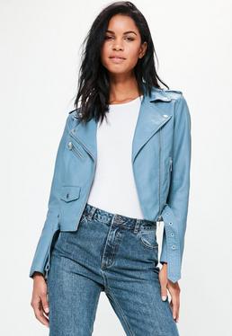Blue Faux Leather Biker Jacket