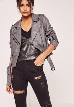 Faux Leather Biker Jacket Grey