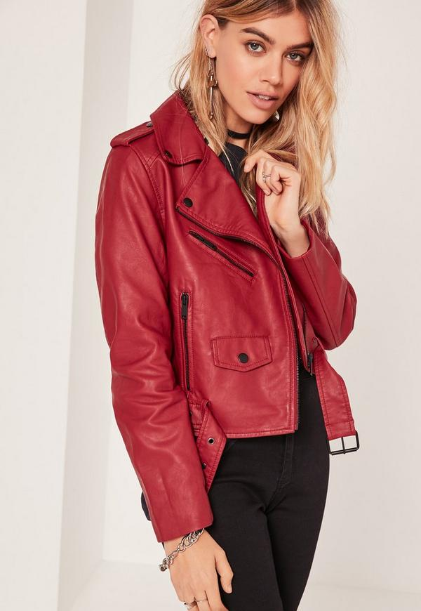 Faux Leather Biker Jacket Red