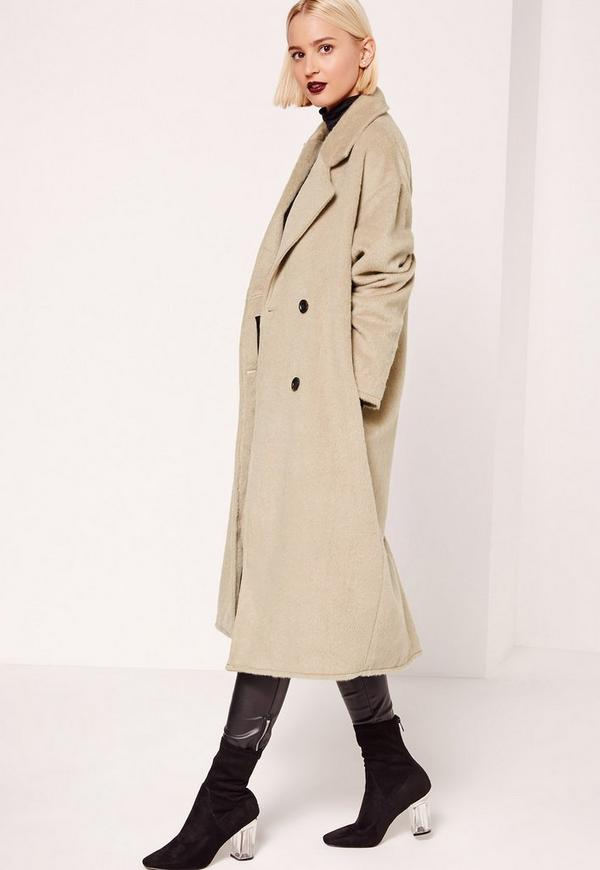 Cocoon Double Breasted Faux Wool Coat Nude