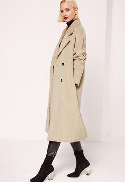Zweireihiger Kokon-Mantel aus Fake-Wolle in Nude