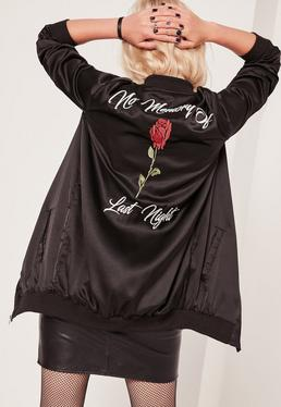 Black Longline Slogan Satin Bomber Jacket