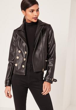 Black Military Faux Leather Biker Jacket