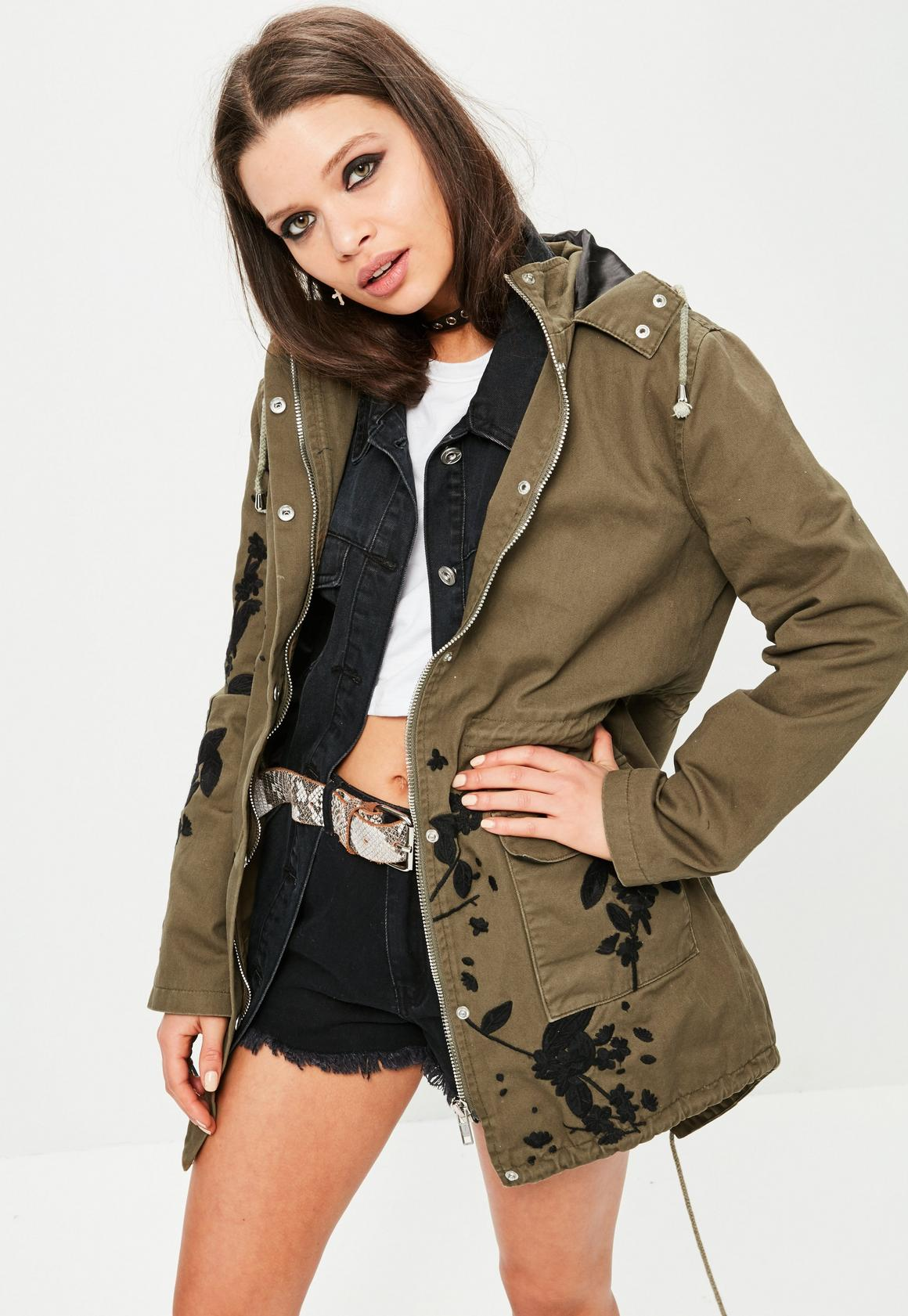 Khaki Embroidered Hooded Parka Jacket | Missguided Ireland