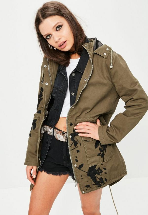 Khaki Embroidered Hooded Parka Jacket