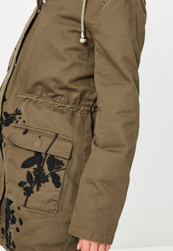 Khaki embroidered hooded parka jacket missguided