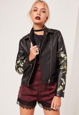 Faux Leather Embroidered Biker Jacket Black