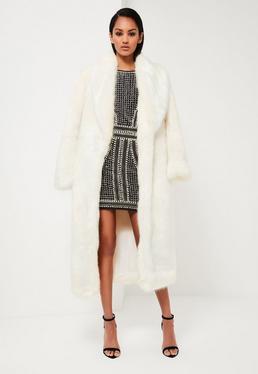 Manteau long blanc en fausse fourrure Peace + Love