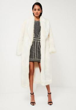 Peace + Love White Longline Faux Fur Coat