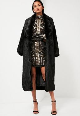 Peace + Love Black Longline Faux Fur Coat