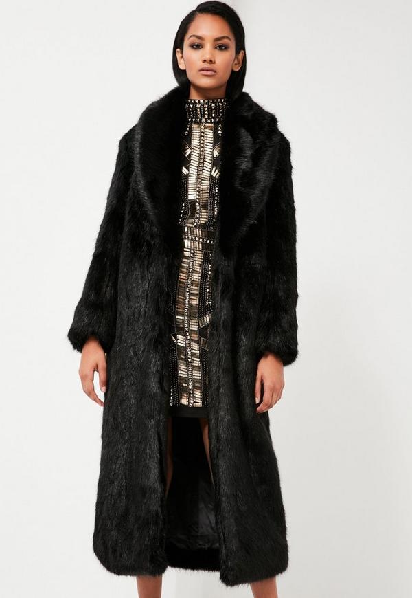 Manteau fausse fourrure noir long
