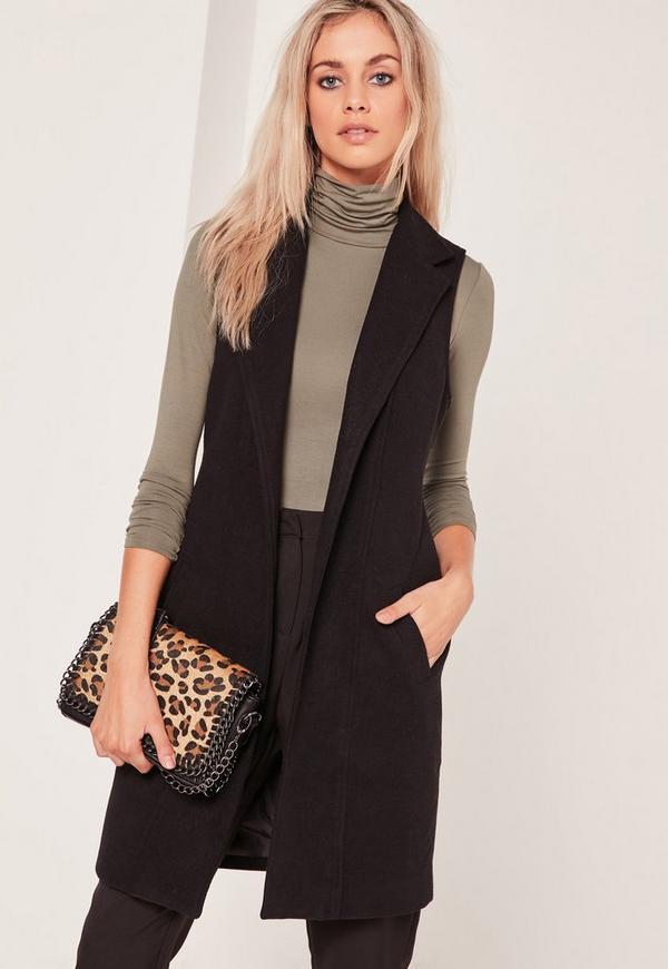 Sleeveless Tailored Faux Wool Coat Black