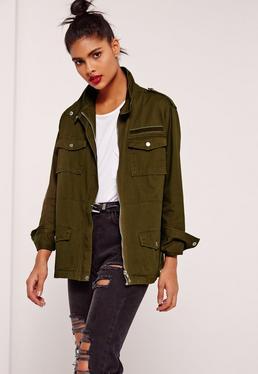 Military Utility Jacket Khaki