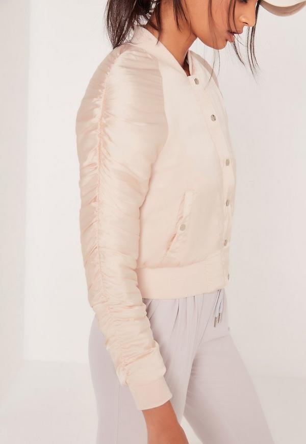 Ruched Sleeve Bomber Jacket Nude