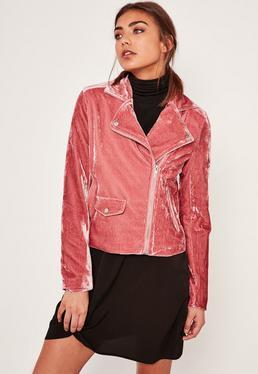Pink Velvet Biker Jacket
