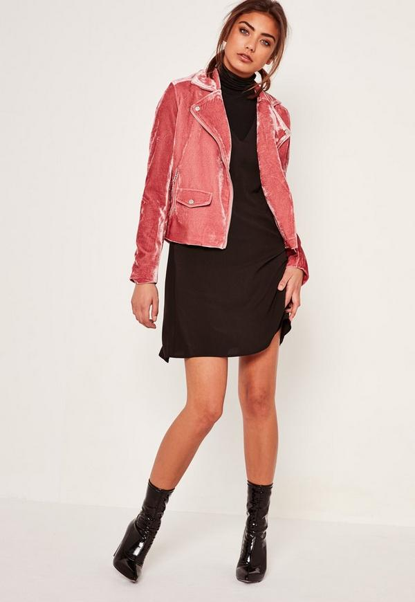 Pink Velvet Biker Jacket - Missguided