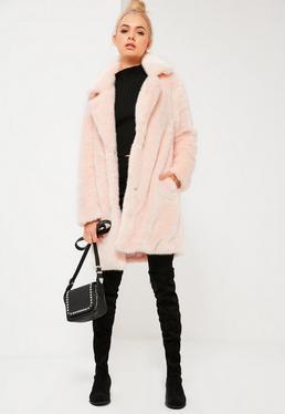 Pink Oversized Collar Faux Fur Coat