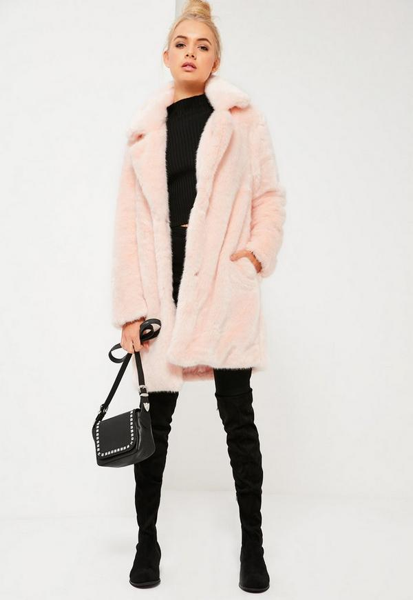 Pink Oversized Collar Faux Fur Coat