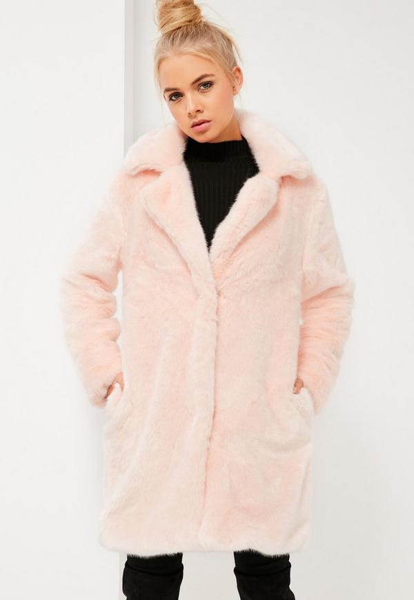 Pink Oversized Collar Faux Fur Coat - Missguided