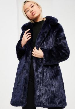 Blue Oversized Collar Faux Fur Coat