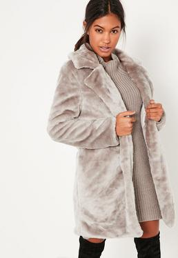 Grey Oversized Collar Faux Fur Coat