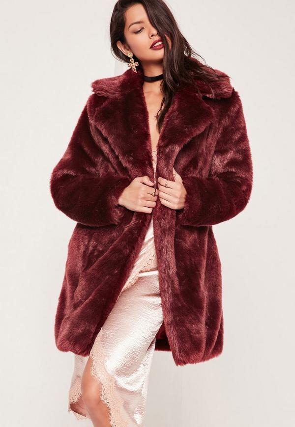 Oversized Collar Fur Coat Burgundy
