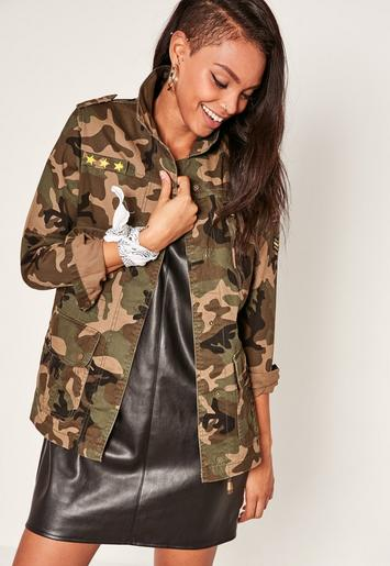Camo Utility Zipped Jacket Green Missguided