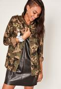 Camo Utility Zipped Jacket Green