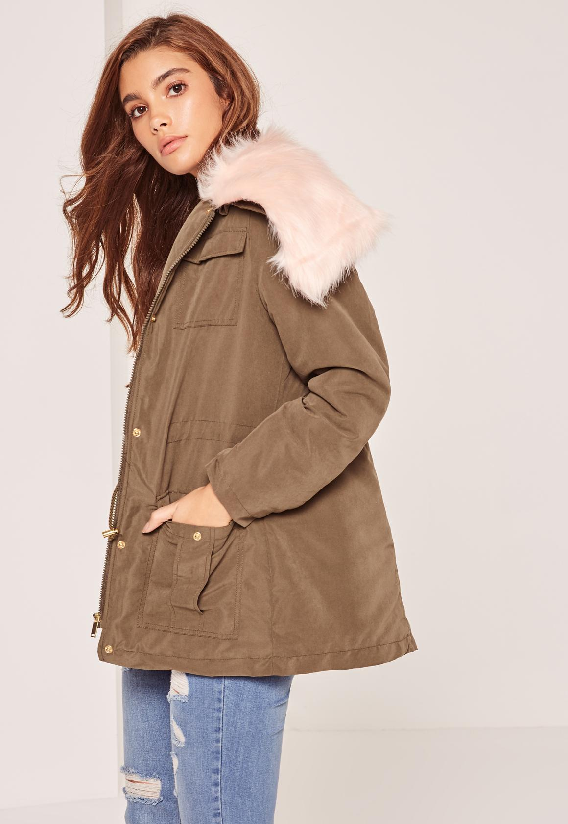 Khaki Fur Collar Parka Coat - Missguided