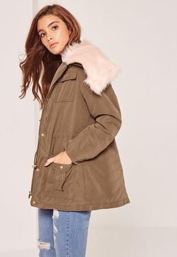 Khaki Faux Fur Collar Parka Coat