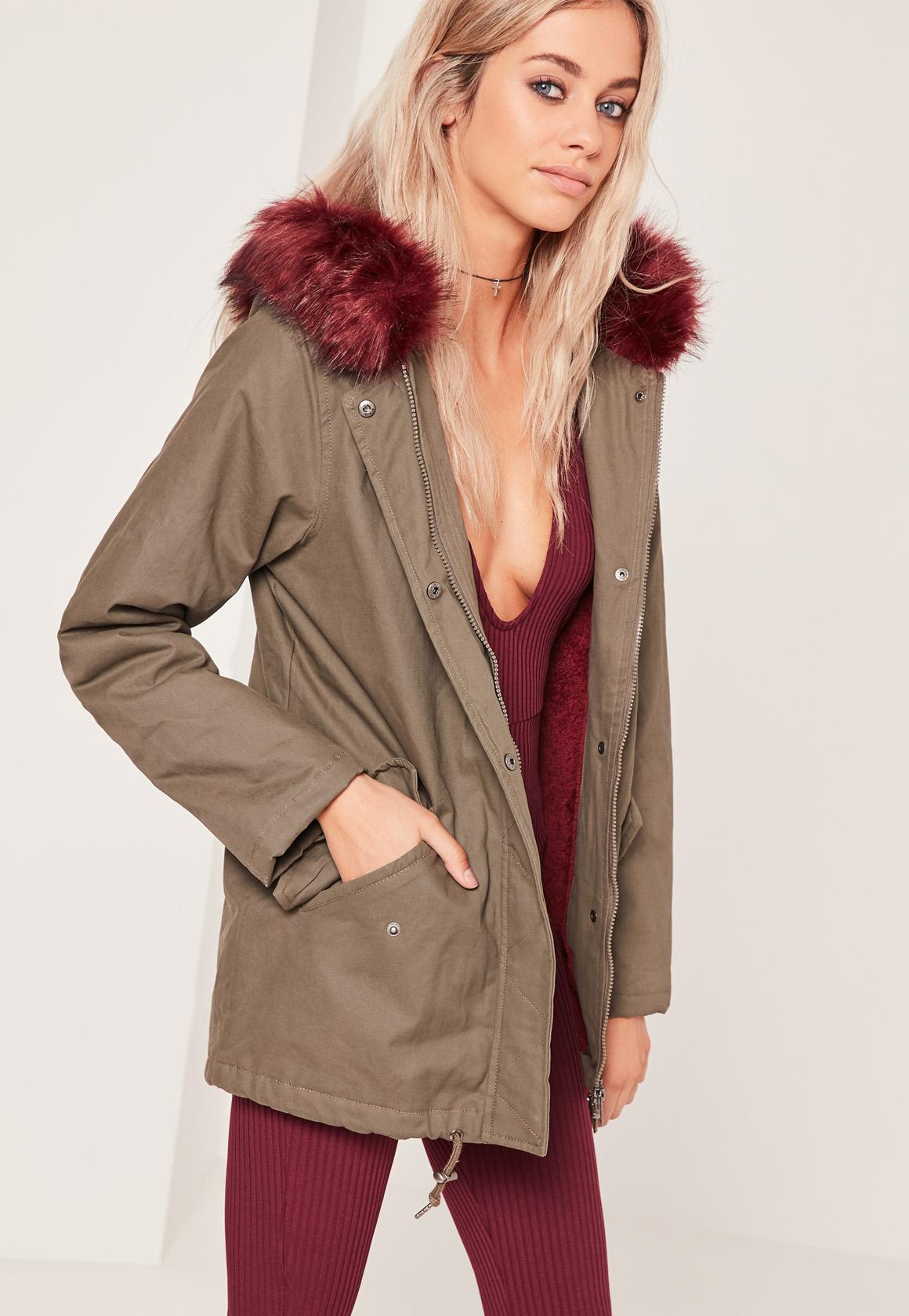 Contrast Faux Fur Lined Parka Jacket Khaki | Missguided