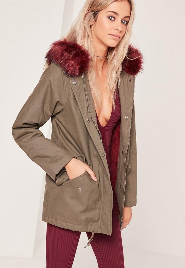 Contrast Faux Fur Lined Parka Jacket Khaki