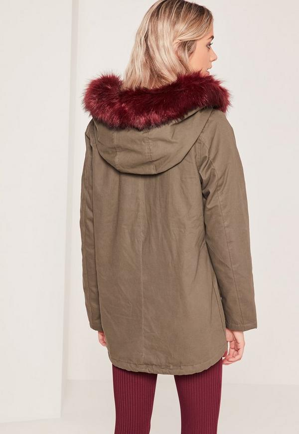 Contrast Faux Fur Lined Parka Jacket Khaki - Missguided