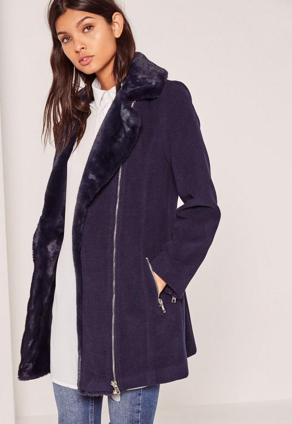 Faux Fur Lined Faux Wool Longline Biker Jacket Navy