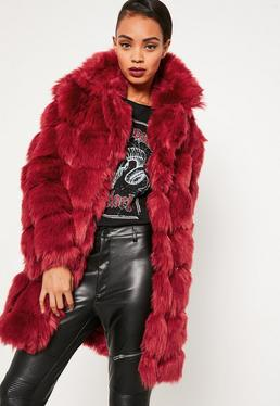 Red Bubble Faux Fur Coat
