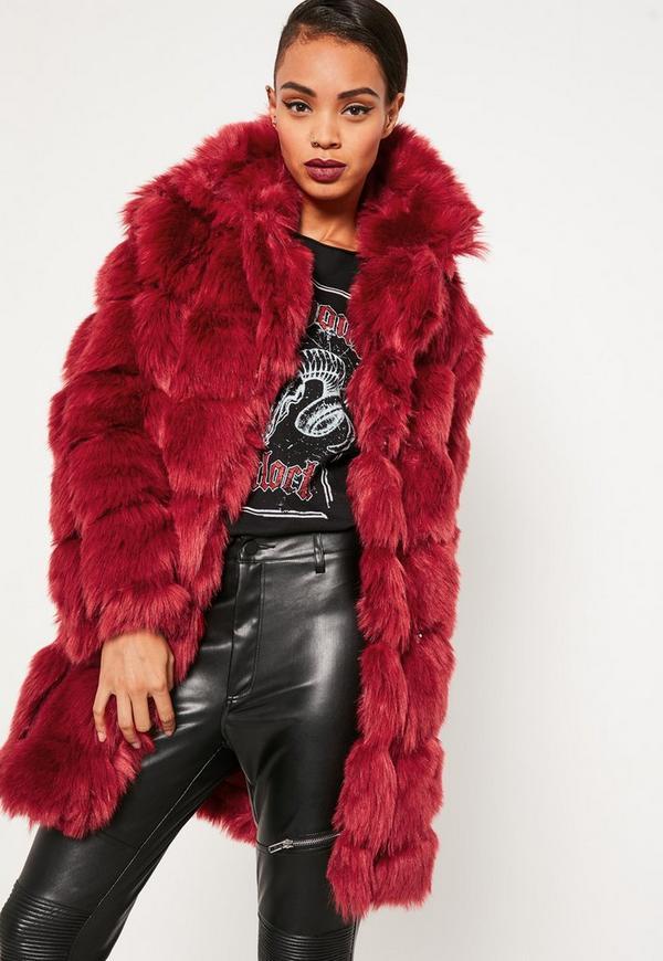 Red Bubble Faux Fur Coat