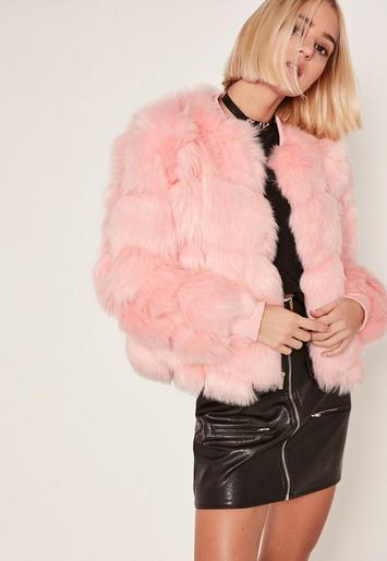 Pink Bubble Faux Fur Bomber Jacket Missguided